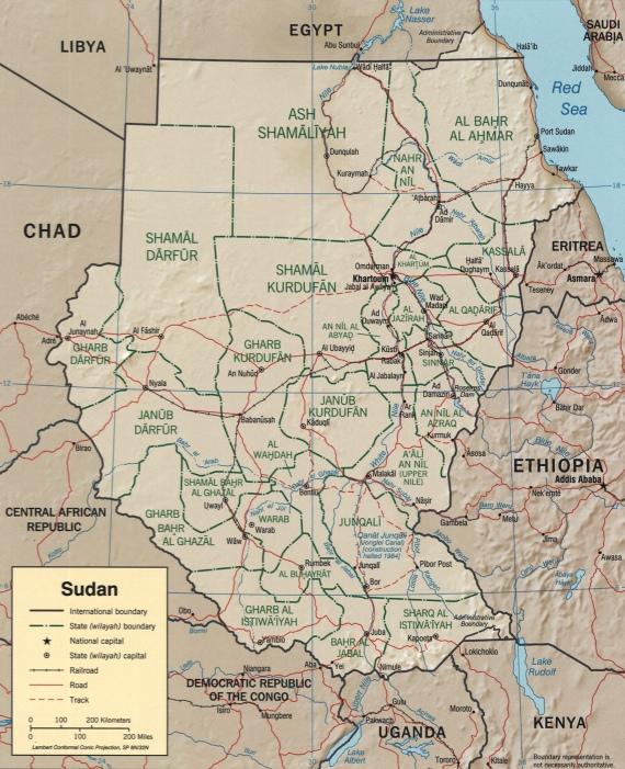Peta bumi Sudan di Benua Afrika
